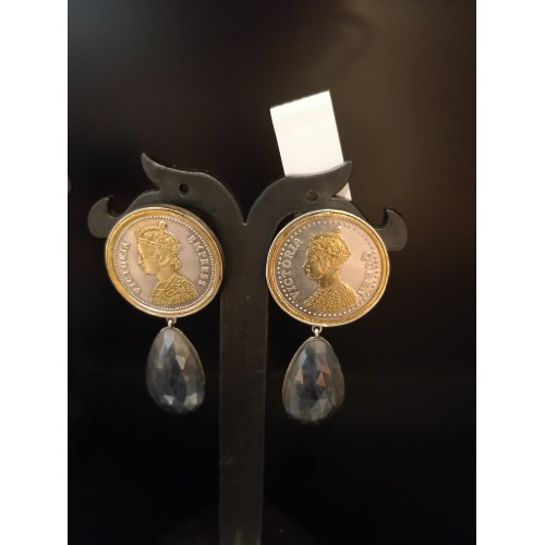 Victorian Queen Coin Dual Tone Drop Earrings