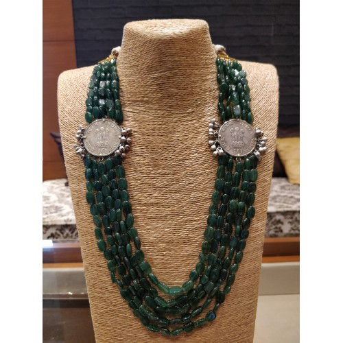 Coin Emerald Necklace