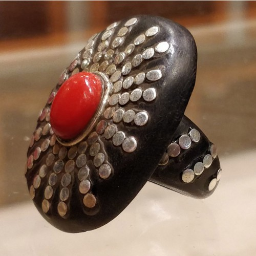 Wooden Silver Red Coral Ring