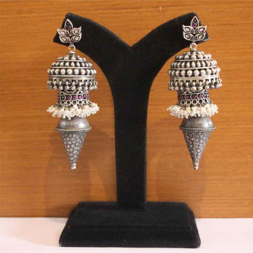Silver Jhumkis With Conical Twist