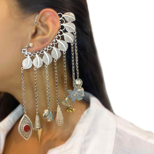 Leaves Ear Cuff With Different Charms