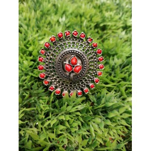 Red Coral Pure Silver Ring