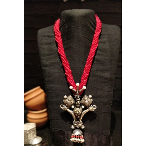 Antique Tribal Motifs Coral Jhumka Necklace