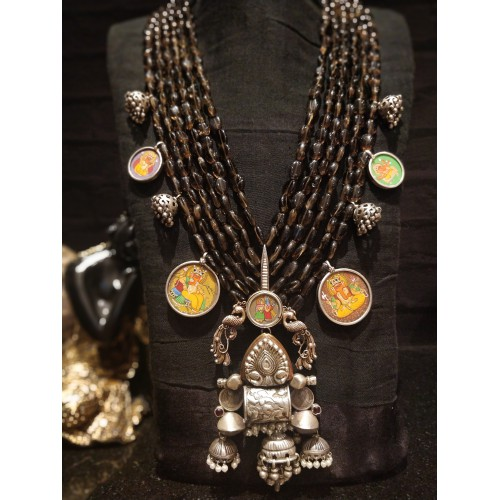 Ganesha Avatar Filigree Rawa Peacock Necklace
