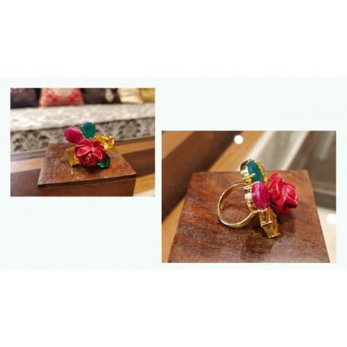 Vibrant Gold Plated Floral Ring