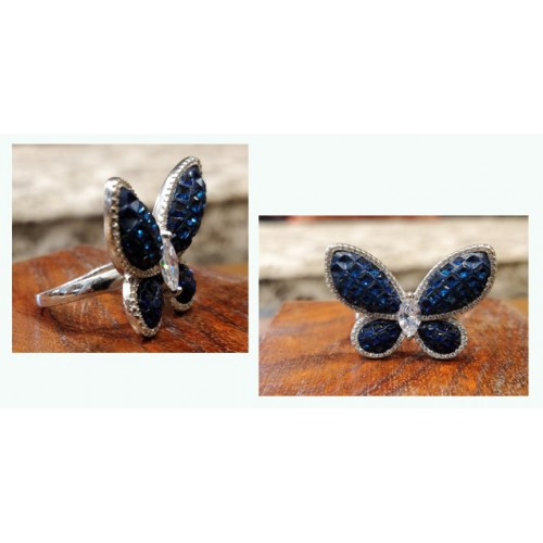Crystals Stud Butterfly Ring