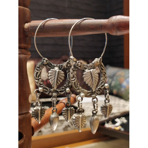 Tribal Leafy Hoop Earrings