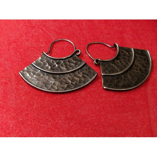 Oxidized Tribal Hammered Hoop Earrings