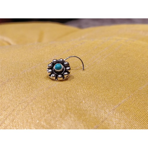 Traditional Turquoise Coral Center Nose Pin