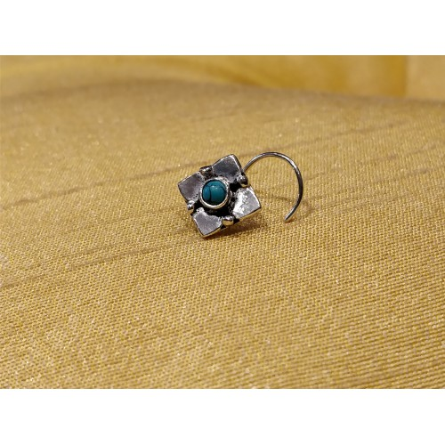 Distinct Turquoise Coral Floret Nose Pin
