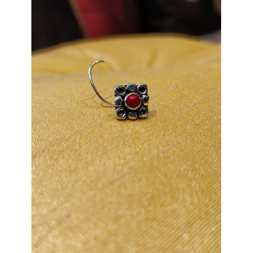 Traditional Red Coral Center Nose Pin