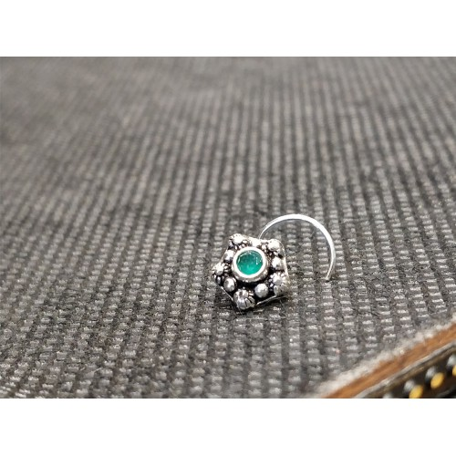 Traditional Turquoise Crystal Center Nose Pin