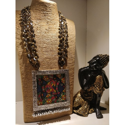 Bihari Multistrand Beaded Madhubani Necklace