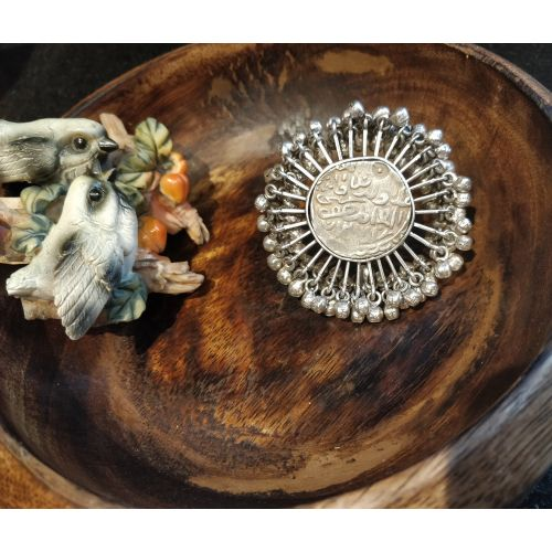 Ethnic Cocktail Vintage Coin Beam Ring