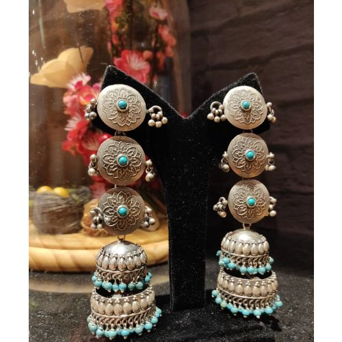 Four Tier Turquoise Accented Jhumka