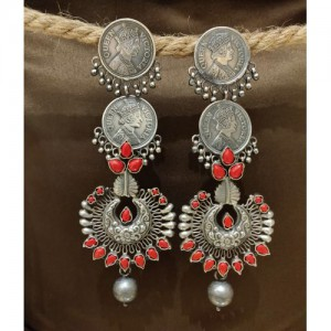 Victorian Coin Red Coral Danglers