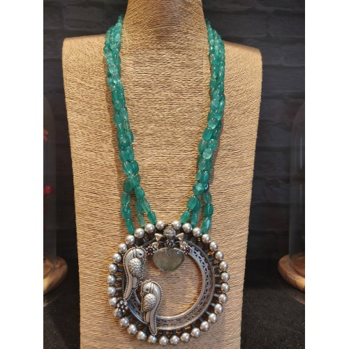 Multistrand Emerald And Parrot Necklace