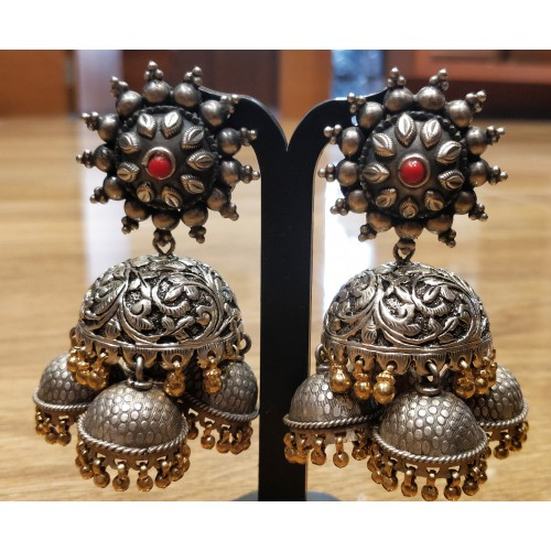 Floral Two Tone Jhumkas