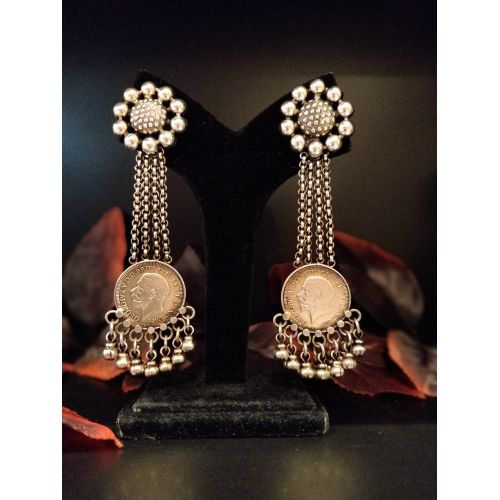 Multi Strand Chain Drop Victorian Coin Earrings